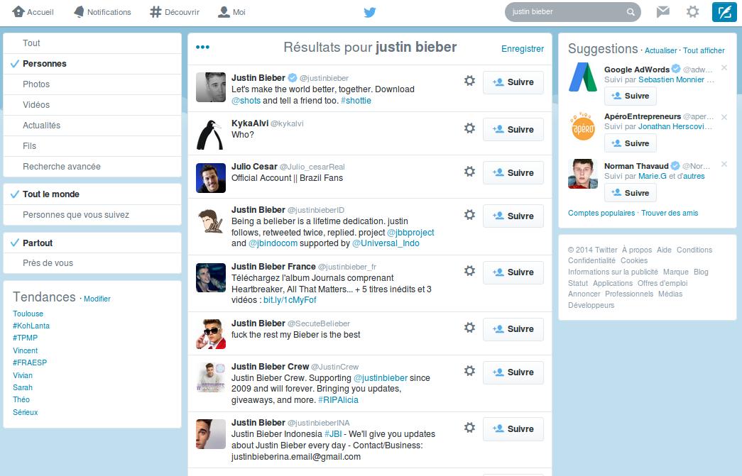 Ciblier l'audience de Twitter grâce aux recherches de personnes
